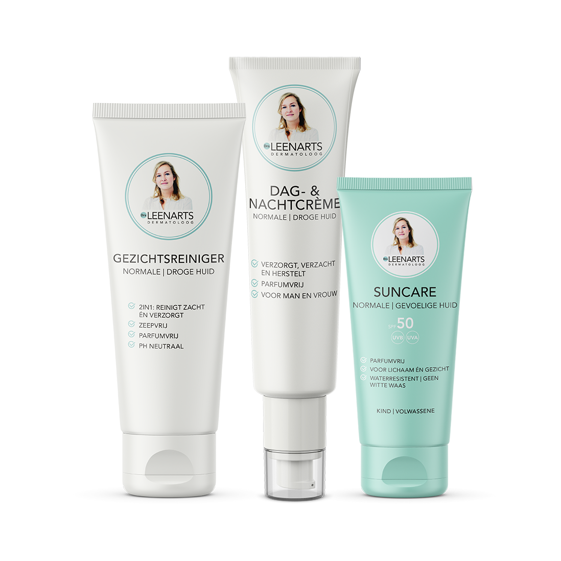Packshot van Drs Leenarts Care and protect facecare set