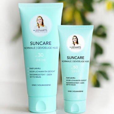 Drs Leenarts Suncare SPF30 en Suncare SPF50 weergegeven. Dit zijn zonnebrandcrèmes in een tube.
